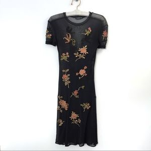 Vivienne Tam Dress Floral Embroidered Sheer Small